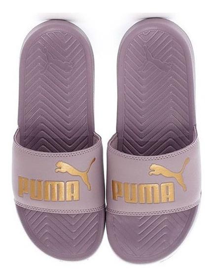 Chinelas Puma Pop Cat Lila/dor Unisex