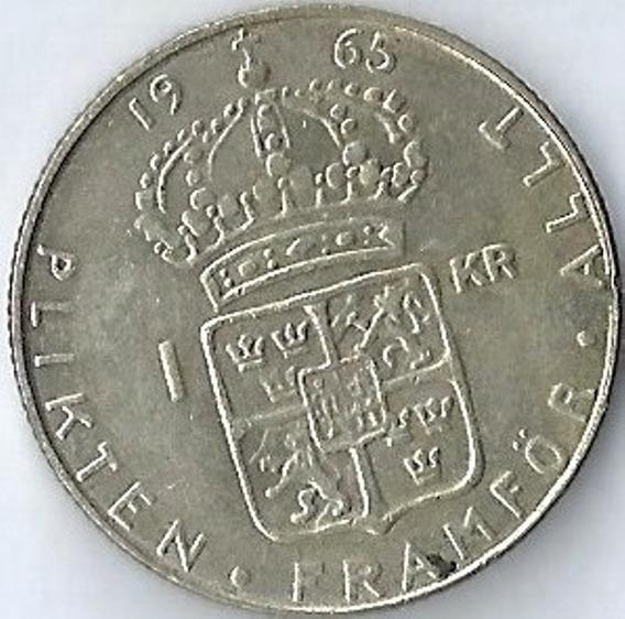 Suecia 1965 1 Krona Moneda De Plata Gustaf Vi Adolf Xx4012