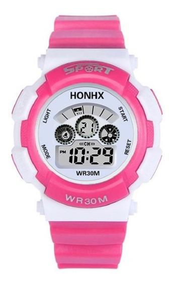 Relógio Infantil Feminino Analógico Led Data Alarme Sport