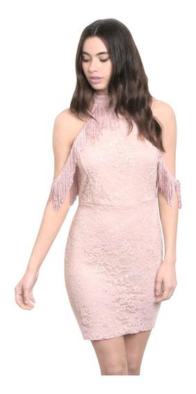 Vestido Corto De Encaje Con Flecos En Hombros, Fiesta Sexy