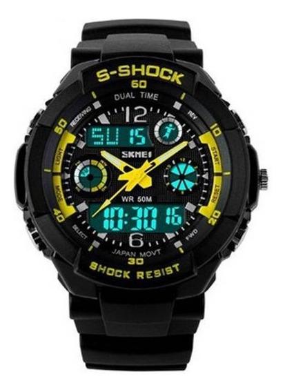 Relógio Skmei 0931 Preto E Amarelo A Prova De Água, Promoção