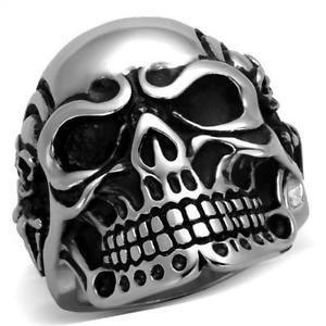 Anel Gótico Esqueleto Da Crânio Aço Inoxidável