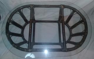 Mesa De Rattan Y Caña Con Vidrio
