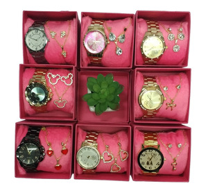 Kit 10 Relógios Feminino Dourado 10 Kit Colar Brinco Folhado