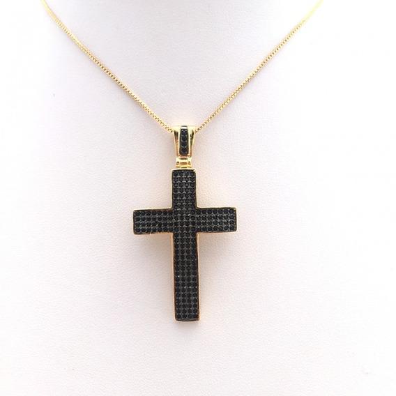 Colar Cruz Zircônia Negra 2341