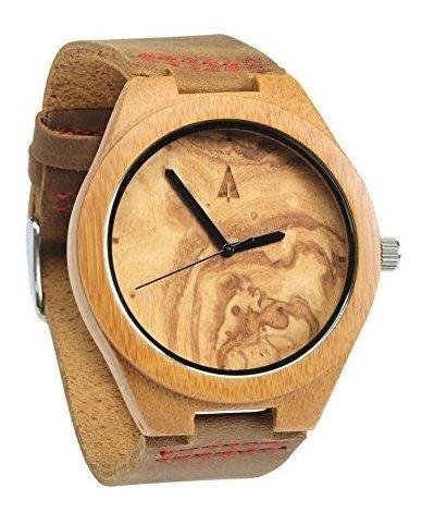 Treehut Mens Wooden Olive Ashe Reloj De Bambu Con Correa De