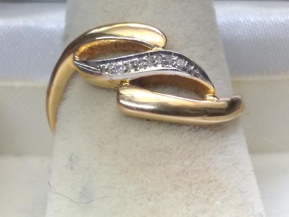 Anillo Curvo Para Dama Con Diamantes Oro Amarillo 14 Kts