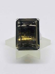 Glitter Joias - Anel Em Ouro E Pedra Cristal De Quartzo Fumê