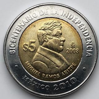 Mex19174 México 5 Pesos Miguel Ramos Arizpe 2008 Xf-au Ayff