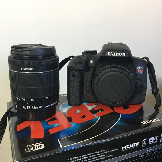 Câmera Canon Dslr Eos Rebel T6i + 2 Lentes (18-55mm E 50mm)