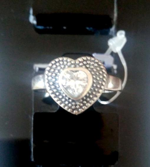 Anel Coração Pedra De Zircônia - Prata Envelhecida 925