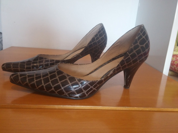 Zapatos Lucerna Stiletto Estileto Color Chocolate Talle 38