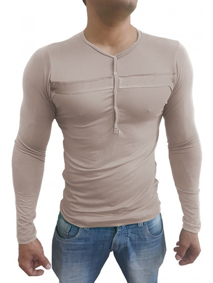 Camiseta Masculina Slim Fit Manga Longa Botões Com Detalhe