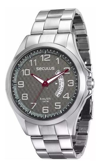 Relógio De Pulso Masculino Seculus 28691g0svna1 Prateado