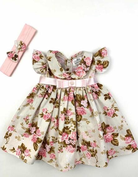 Vestidinho Bebe Menina Infantil Com Tiara 100% Algodão
