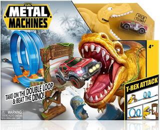 Pista Autos Metal Machines Dinosaurio T-rex Attack Lanzador