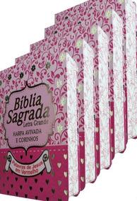 Kit 5 Bíblia Letra Grande Com Harpa E Corinho