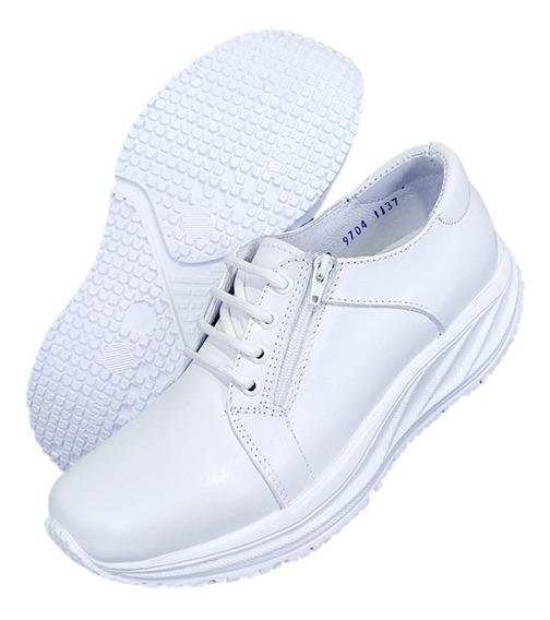 Zapatos Blanco Piel Antifatiga 9704 Enfermera,dentista,chef