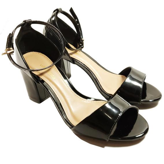 Sandália Salto Médio, Preta Ou Vermelha, 34 Ao 39