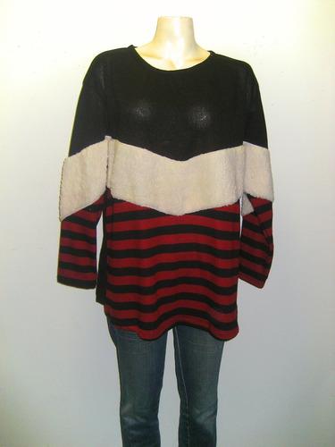 Sweater De Lanilla Con Pelo Combinado Talles Grandes