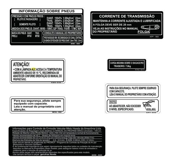 Etiquetas De Precaução Honda Bros 150 - Frete Grátis