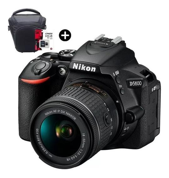 Camara Nikon D5600 Reflex Full Kit Lente 18-55mm + 64gb C10