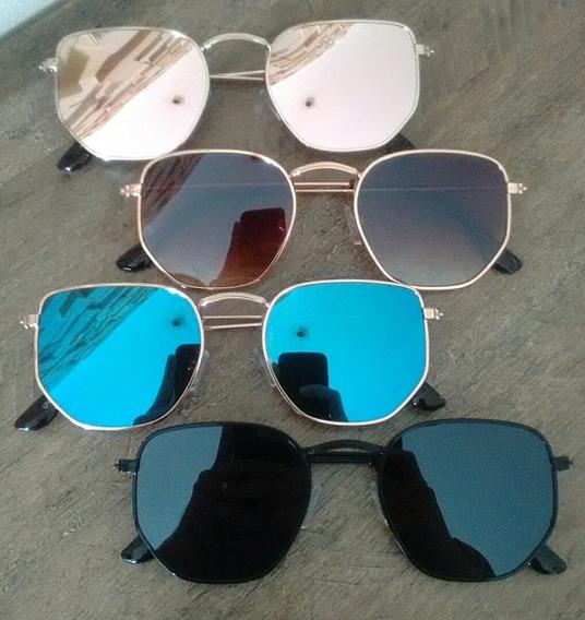 Óculos Feminino Escuro De Sol Hexagonal Estiloso Verão 2019