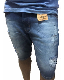 Kit 2 Bermudas Jeans Premium Masculina Slim Fit Destroyed