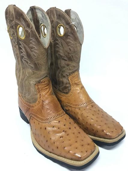 Bota Texana Country Masculina Pbr Bico Quadrado Couro Legítimo De Avestruz - Qualidade Incomparável Com Acabamento Único