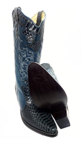 Bota Texana Feminina Country Anaconda Cano Longo Luxo