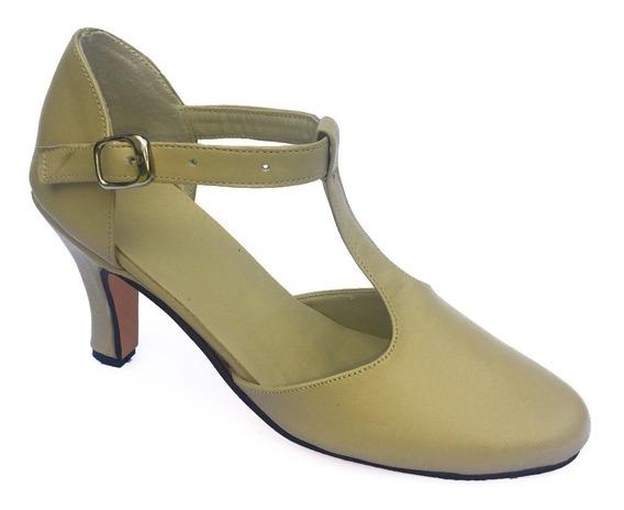 Zapatos De Tango, Salsa, Bachata, Jazz- Cuero Crema