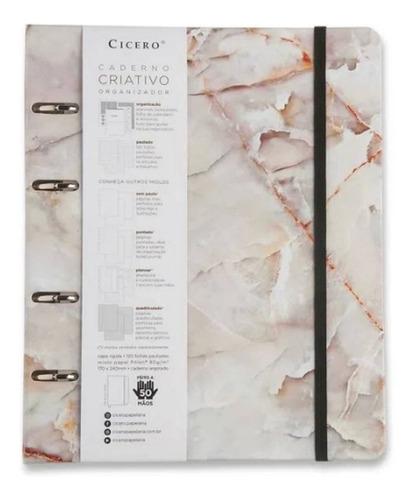 Caderno Fichário Arg. 12 Mat.-mármore Branco-cicero