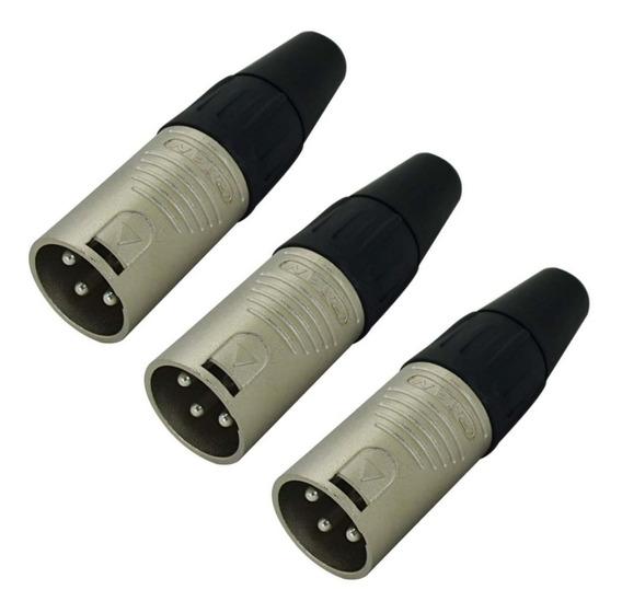 Kit 3 Plug Conector Rean Xlr Macho Neutrik Rc3m