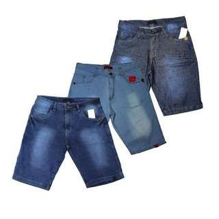 Kit 3 Bermuda Short Jeans Masculina Slim Skinny Top