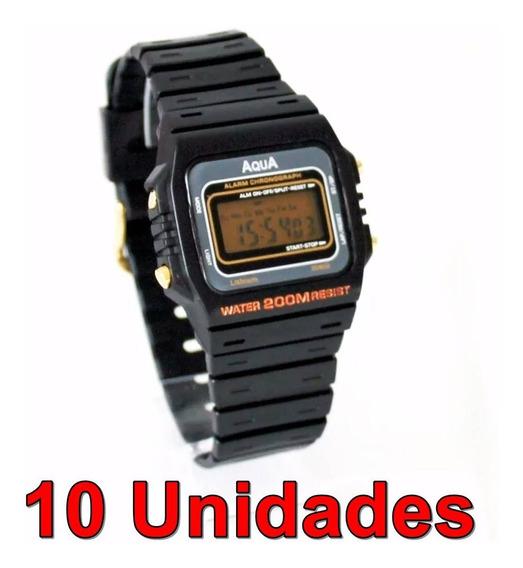 Kit Com 10 Relógios Aqua Aq37 Prova D