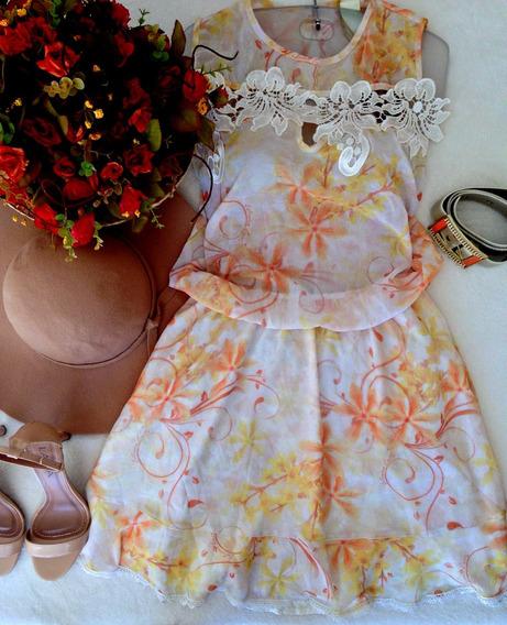 Vestido Laranja Floral Com Cinto Tam 40