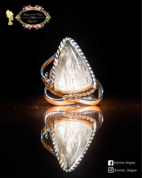 Anillo Con Piedra cuarzo Turmalinado En Plata .925