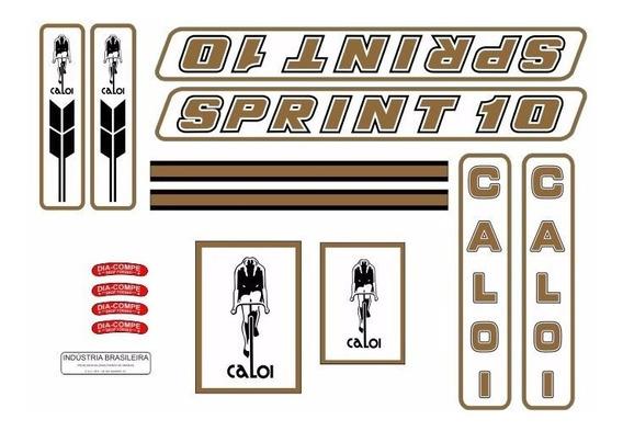 Adesivo Bicicleta Antiga Caloi 10 Sprint 1983 A 1984 Dourado