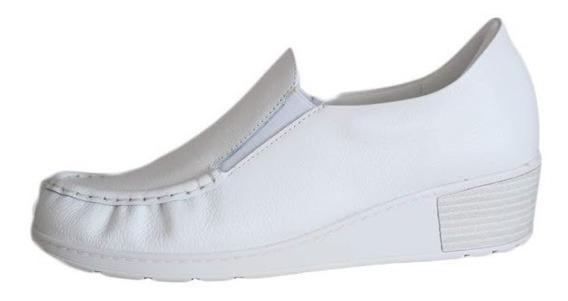 Sapato Usaflex Com Anabela Estilo Mocassim Confort 0202