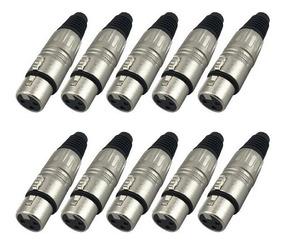 Kit 10 Unidades - Plug Canon Femea Sas L3 - Santo Angelo
