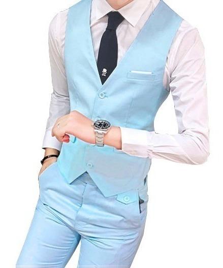 Colete + Calça De Terno Slim Fit Kit Uniforme Garçom Azul