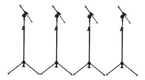 4 Pedestais Microfone Visao Musical Girafa Preto Vpe2bk