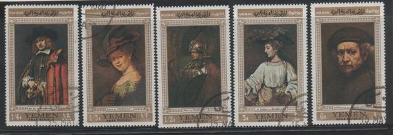 Estampillas Yemen 1968 Arte Pintores Rembrandt Lote Pde