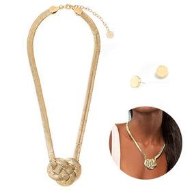 5de2276bdddb Set Collar Y Aretes Broqueles Baño De Oro Nudo Joyería Nice