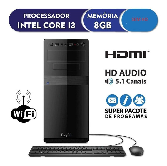 Pc Cpu Intel Core I3 + 8gb Ram + Wi Fi / Sem Hd