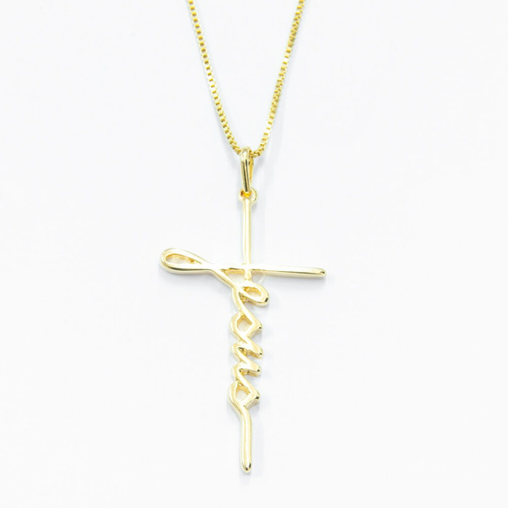 Colar Banhado Ouro Pingente Em Formato E Cruz Escrito Jesus