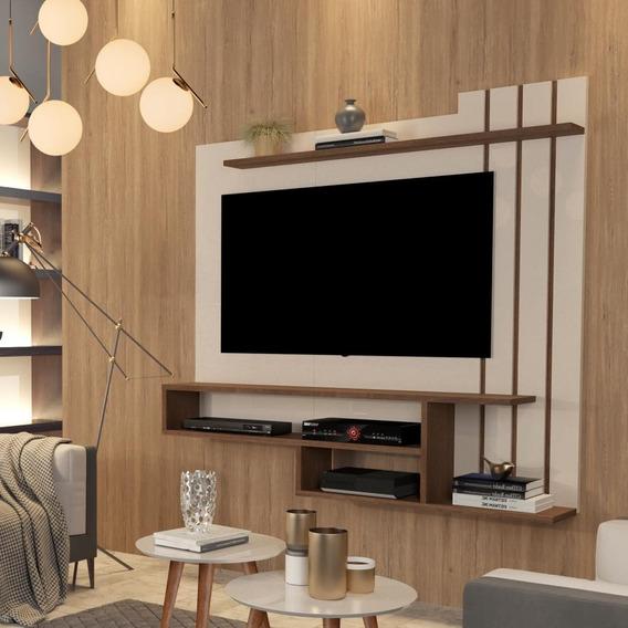 Painel Para Tv Até 55 Polegadas Valência Off White / Freijó