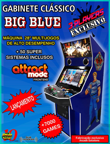 Fliperama Multijogos Big Blue.pronta Entrega.3 Jogadores