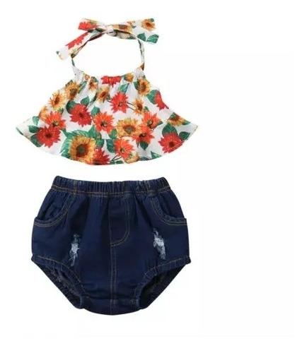 Imagem 1 de 7 de Conjunto Infantil Importado 2 Peças Blusa Com Calcinha Jeans