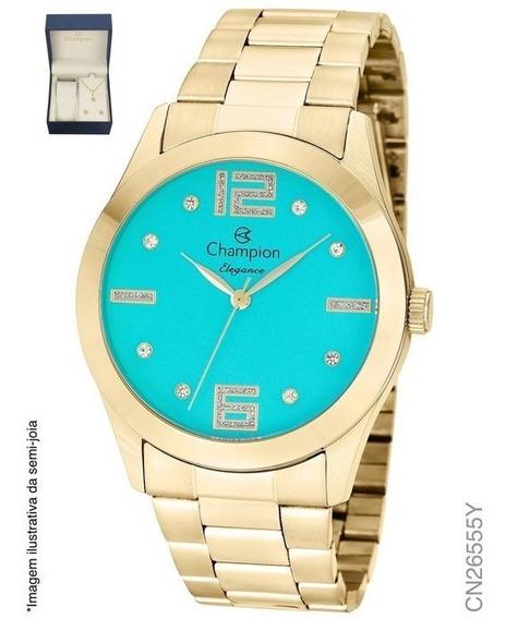 Kit Relógio Feminino Champion Cn26555y Analógico Dourado